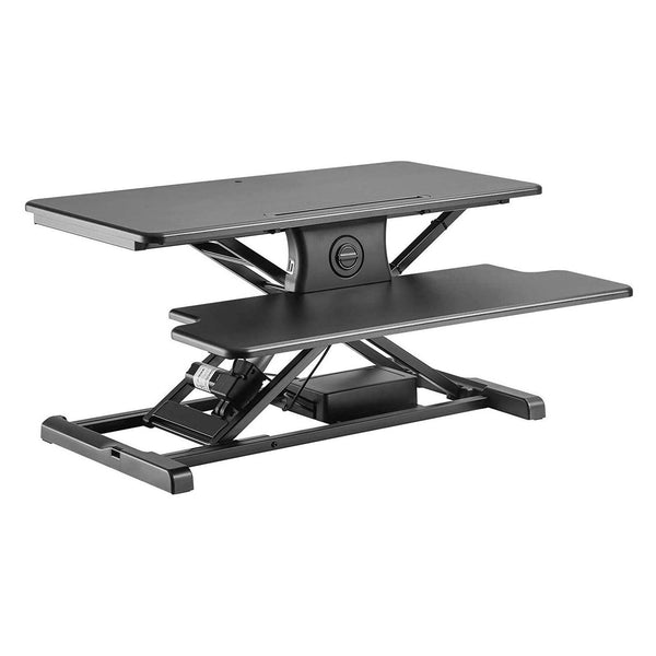 Mecor Electric Height Adjustable Standing Desk Converter Stand up Power Riser 32inch Black Tabletop Workstation fits Dual Monitor