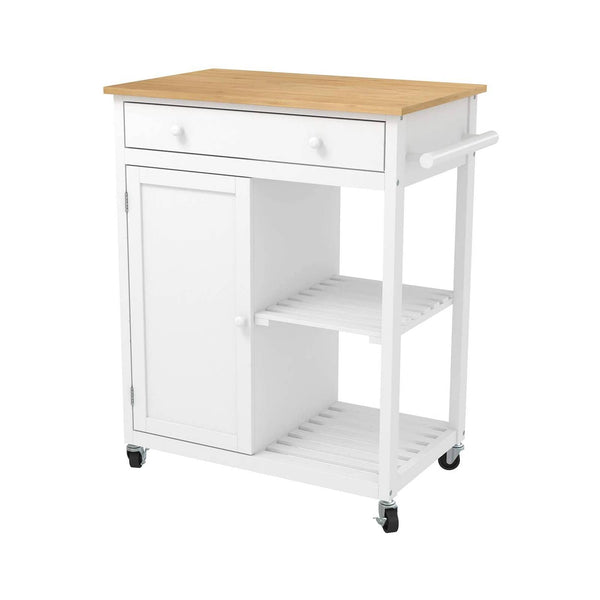 Mecor Kitchen Island Cart w/Wood Top, Rolling Utility Trolley on Wheels with Storage Drawer, Shelves and Cabinet, White