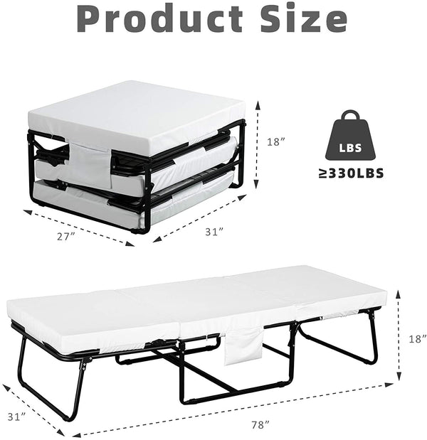 Mecor Adjustable Folding Bed, Rollaway Guest Bed with Adjustable Head Incline, Heavy Duty Portable Metal Frame