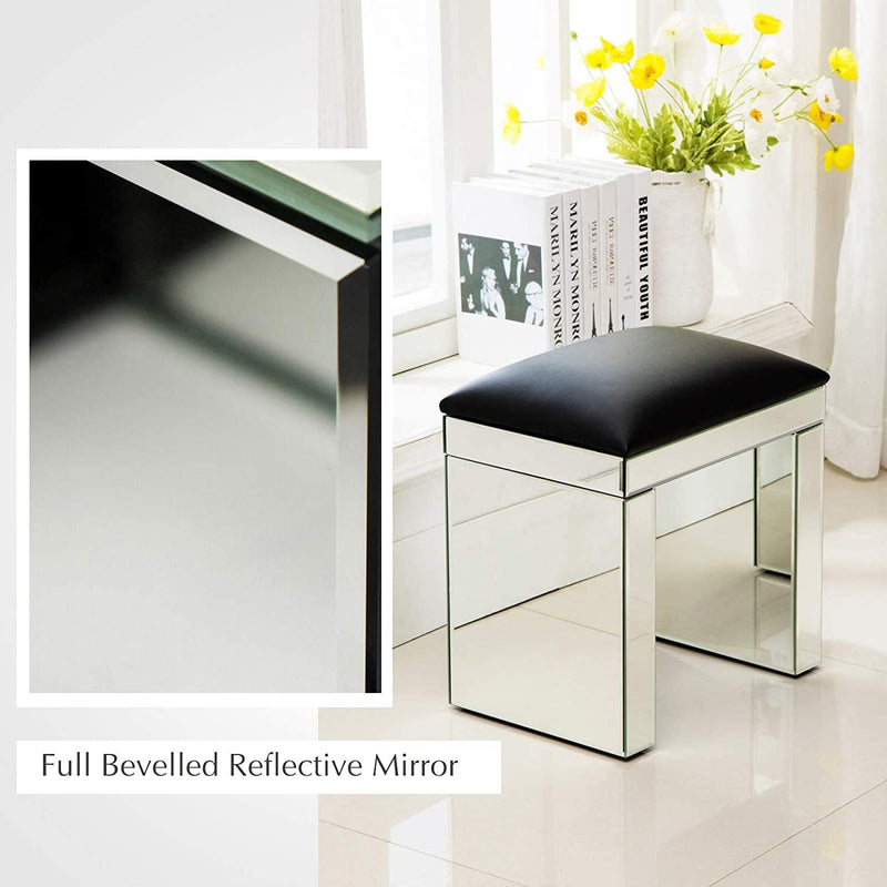 Mecor mirror dressing stool silver makeup dressing table thickened upholstered chair modern piano seat living room