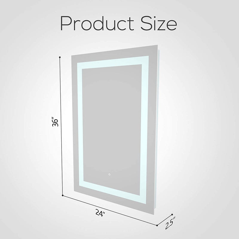 Mecor 36X24inch LED Lighted Bathroom Mirror Silvered Anti Fog Wall Mounted Mirror with Touch Button