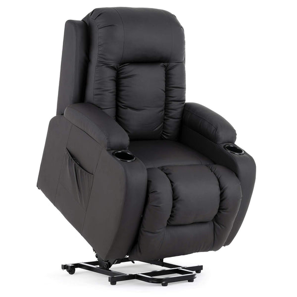 Mecor Power Lift Recliners, Lift Chairs for Elderly, PU Leather Reclining Lift Chair with Massage/Heat/Cup Holders , Brown