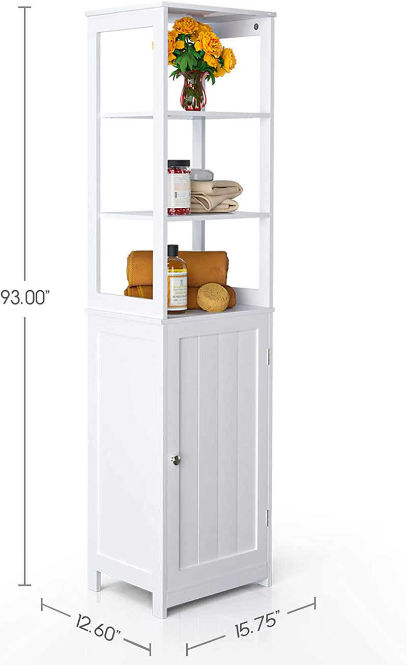 Mecor Standing Tall Storage Cabinet, Wooden White Bathroom Cupboard with Door and Adjustable Shelves