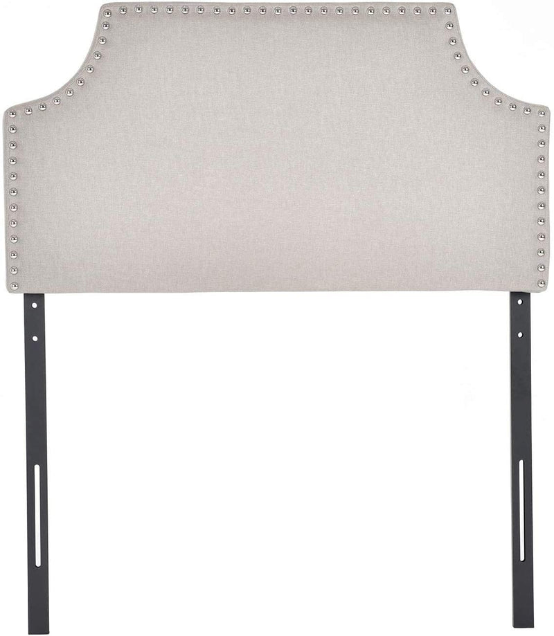 Mecor Upholstered Nailhead Twin Size Headboard in Khaki Fabric,Height Adjustable