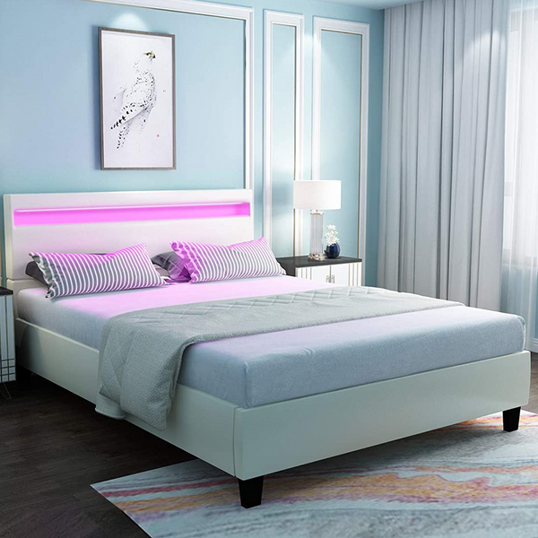 Mecor LED Bed Frame with 8 Color Changing LED Lights Headboard - Modern White Upholstered Faux Leather Platform Bed - Solid Wooden Slats Support