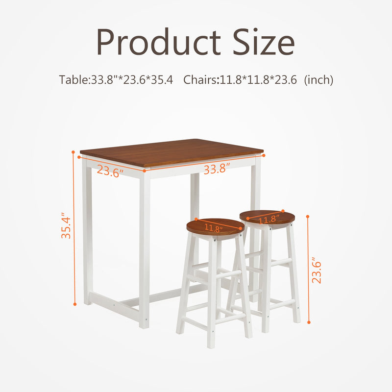 Mecor 3-Peice Pub Table Set, Wood Dining Table Set with 2 Counter Stools for Home Kitchen Breakfast Furniture