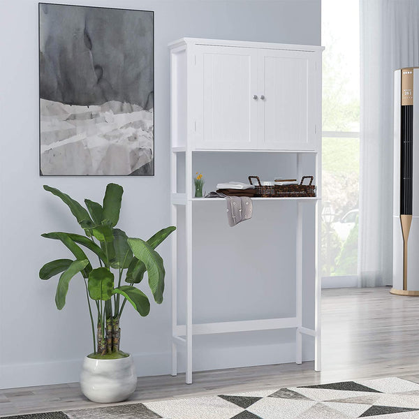 Mecor Bathroom Space Saver Cabinet, Bathroom Over-The-Toilet Space Saver Double Door, Adjustable Shelf Organizer