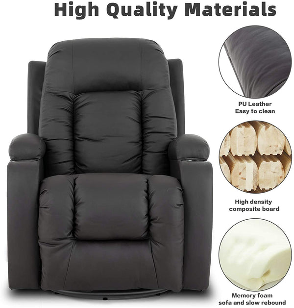 Mecor Massage Recliner Chair PU Leather Rocker with Heat 360 Degree Swivel Single Sofa Seat Ergonomic Lounge Remote Control-Brown