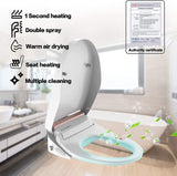 Mecor Smart Toilet Seat, Night light, Warm Air Dryer, Heated Seat, Self Cleaning Nozzle,Automatic Dry Heat, LED Display Water Tem