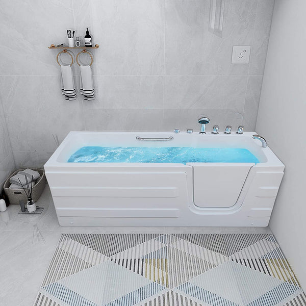 Mecor Walk-in Whirlpool Bathtub, Rectangular Soaking Bathtub,Right Intward Opening Door and Right Drain