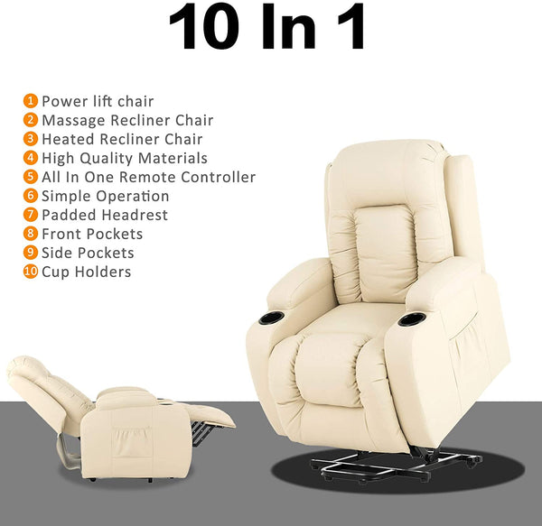 Mecor Power Lift Chair, Lift Recliner for Elderly, PU Leather Massage Recliner Chair with Heating System and Cup Holders for Living Room