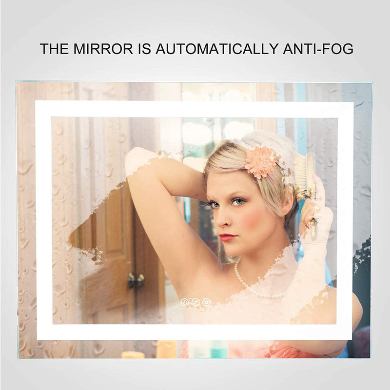 Mecor 36X28inch Dimmable LED Lighted Bathroom Mirror Silvered Wall Mounted Mirror with Touch Button