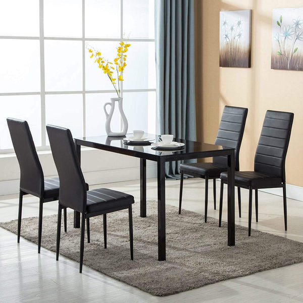 Mecor Dining Table Set, 5 Piece Kitchen Table Set with Glass Table Top 4 Leather Chairs Dinette