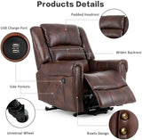 Mecor Lift Chair Recliner Dual Motor PU Leather Power Lift Recliner for Elderly Lay Flat Sleeper Recliner