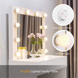 Mecor LED Dressing Table Makeup Vanity Table with 10 LED Lights Mirror,Vanity Set with Stool&Drawer
