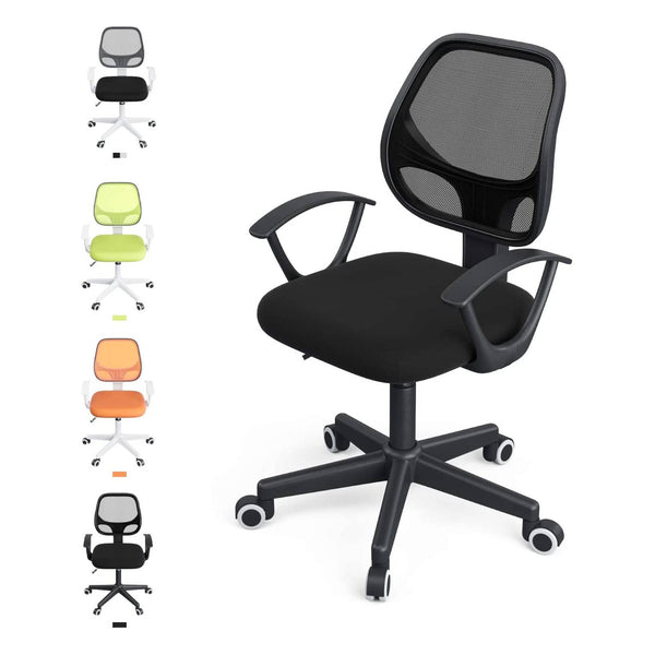 Mecor Low Back Small Office Chair, Lumbar Support Modern Office Chair Ergonomic Adjustable Height.Swivel Office Desk Chair for Back