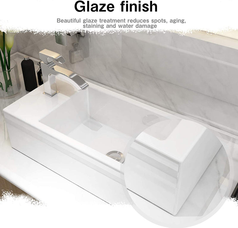 Mecor White Vessel Sink - 20 x 10in Rectangle Bathroom Sink White Porcelain Ceramic Bathroom Vessel Vanity Sink