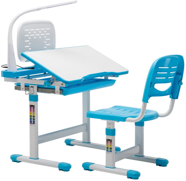 Mecor Kids Desk and Chair Set Height Adjustable,Children Student Sturdy Table with Book Shelf, Sliding Drawer Storage and Three-Color Adjustable Bulb
