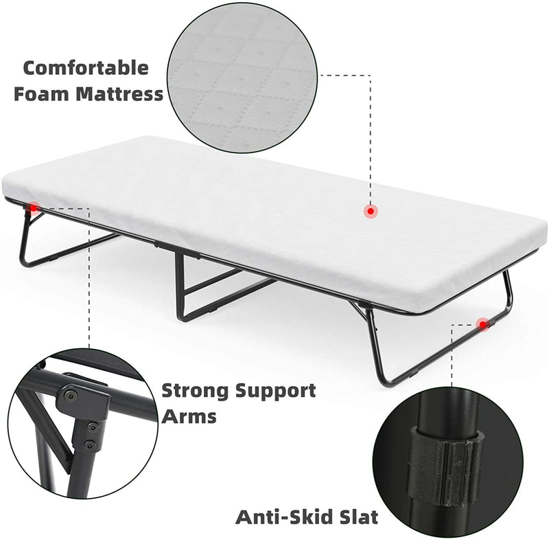 mecor Folding Bed with Foam Mattress/Rollaway Guest Bed with Strong Sturdy Frame - Easy Storage - Portable Bed