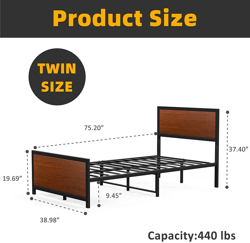 mecor Metal and Wood Twin Platform Bed Frame , Antique Walnut