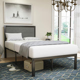 Mecor Metal Twin Bed Frame, Platform Bed with Grey Foam Cushioned Upholstered Headboard, with Solid Wood Slats Support, Twin Size, Black