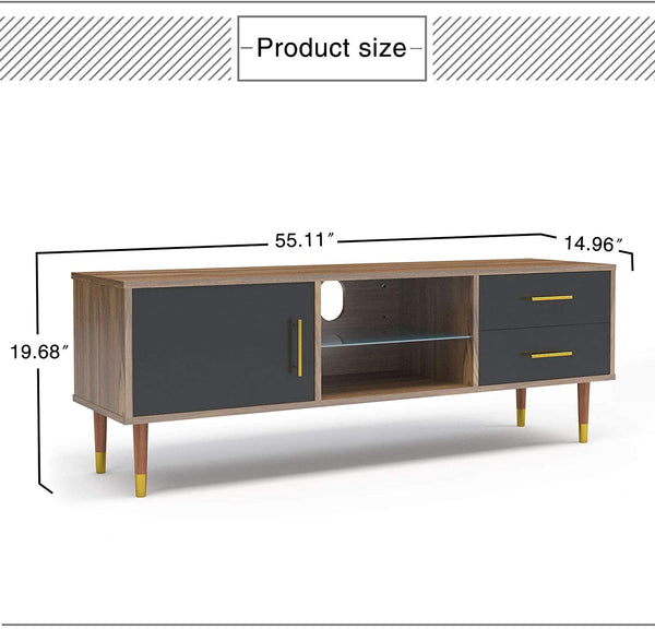 Mecor TV Stand for TVs up to 55'', Media TV Stand Storage Console Table with Storage Cabinet, Drawers Glass Shelf, Modern Living Room, Walnut/ Black