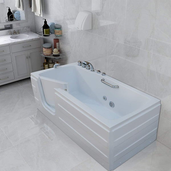 Mecor Walk-in Whirlpool Bathtub, Rectangular Soaking Bathtub,Left Intward Opening Door and Left Drain