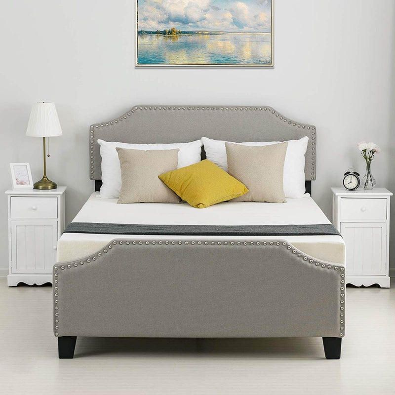Mecor Upholstered Linen Platform Bed, Nailhead Trim Bed Frame, Curved Headboard, Headboard Height Adjustable, Wood Slat Support, Stone Khaki, Full
