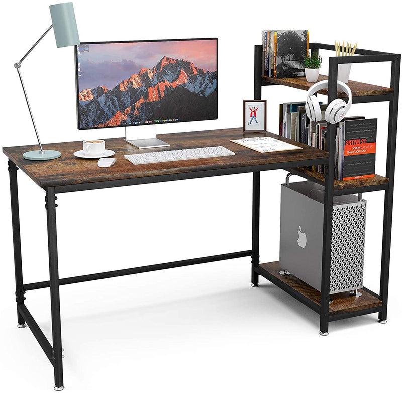Mecor Computer Desk with 3 Tier Bookshelves Home Office Desk Writing Study Table, Compact Workstation, AntiqueWalnut