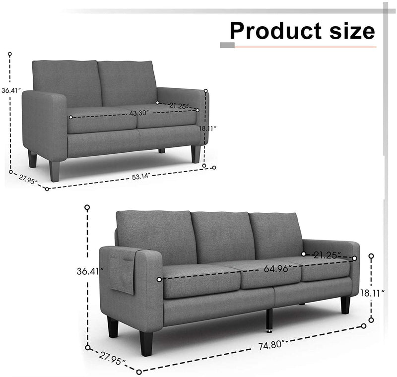 Mecor 2 Piece Living Room Sofa Set Modern Fabric Couch Furniture Upholstered 3 Seat Sofa Couch and Loveseat for Living Room, Bedroom, Office