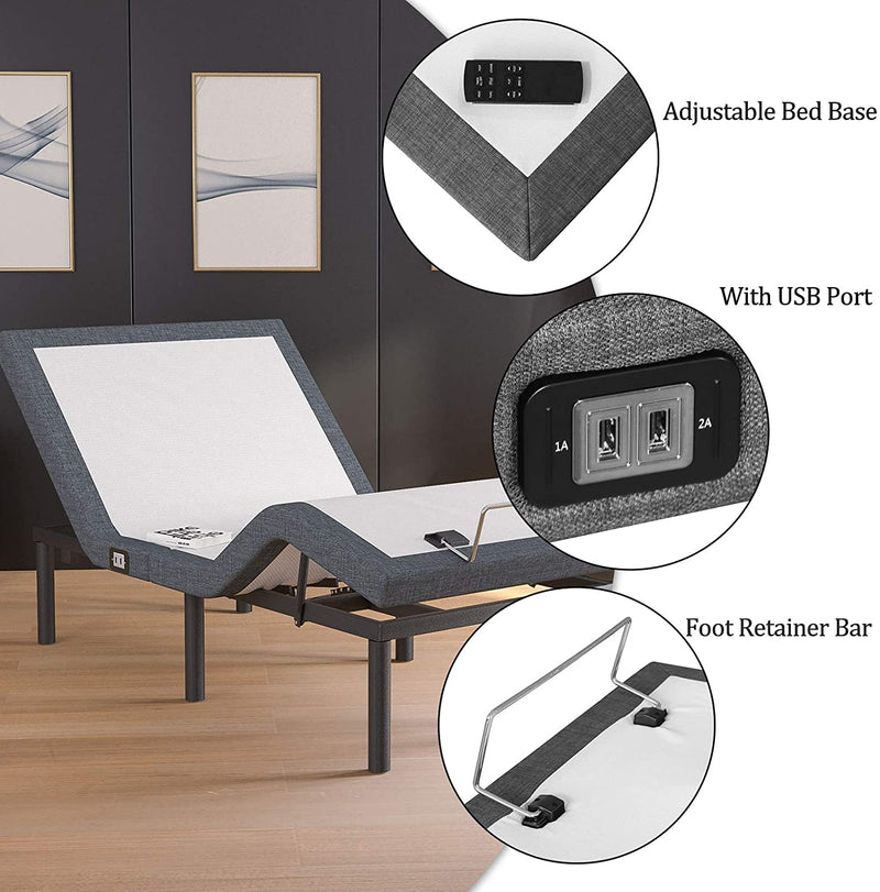 Mecor Upholstered Adjustable Bed Base Frame, Wireless Remote, Double Massage Points, Head and Foot Incline