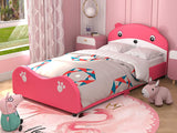 Mecor Children Toddler Bed, Twin Size Cute Bear Upholstered Platform Bed Frame with Headboard Footboard, Kids Bed for Boys Girls, Pink