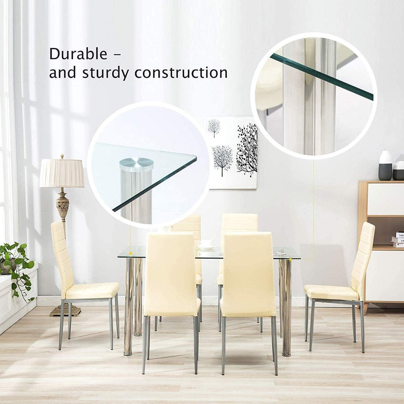 Mecor Glass Dining Table with GlassTop, Modern Leisure Rectangualr Kitchen Table Metal Legs 53IN