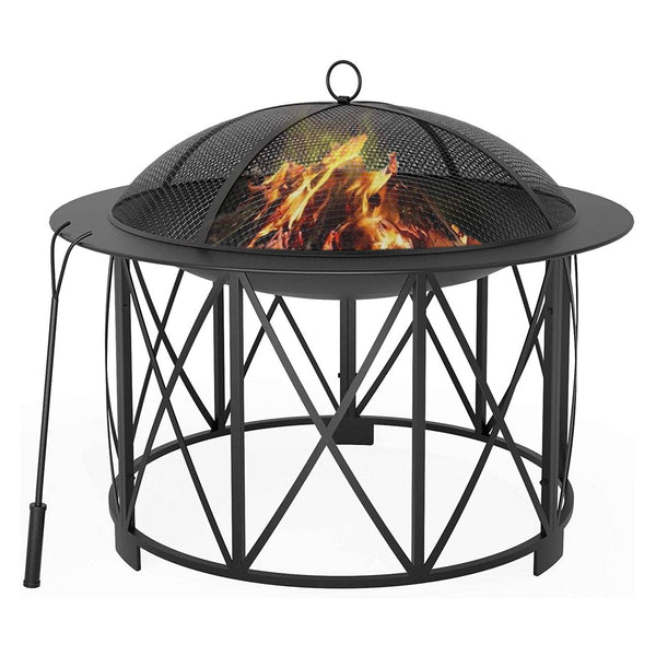 Mecor Fire Pit, 30inch Steel Fire Pits Outdoor Wood Burning Steel BBQ