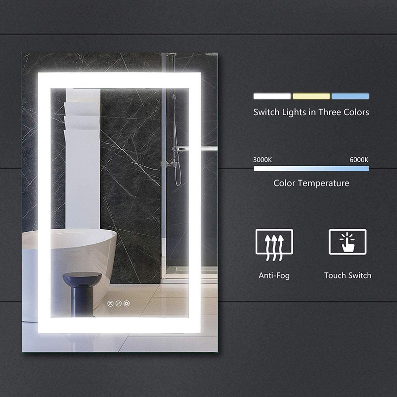 Mecor Dimmable LED Lighted Bathroom Mirror with Touch Button, Anti Fog and Waterproof