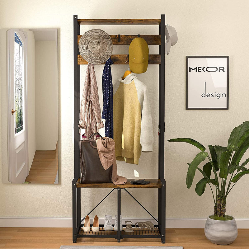 "Mecor Industrial Entryway Hall Tree, 69"" Folding Coat Rack Shoe Bench with 2-Tier Storage Shelf, 7 Removable Hooks"