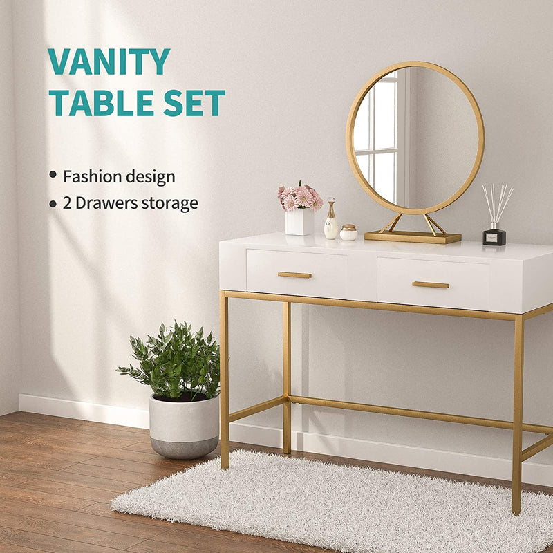 Mecor Console Table with Gold Metal Legs, Sofa Side Table with 2 Drawers, Vanity Makeup Dressing Table with Free Large Round Removable Mirror