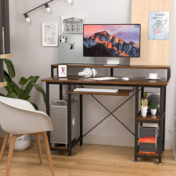 Mecor Computer Desk with Storage Shelves, Study Writing Table Modern Simple Style Space Saving Design, Monitor Stand Study Table for Home Office