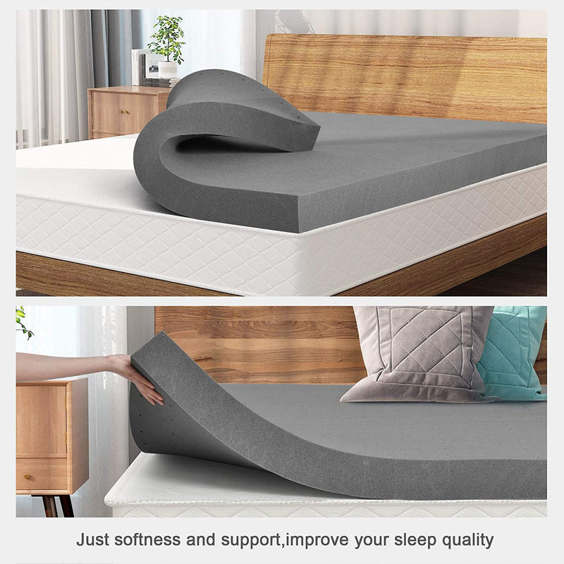Mecor  Bamboo Charcoal Infused Memory Foam Mattress Topper, CertiPUR-US Certified, Ventilated Foam Topper