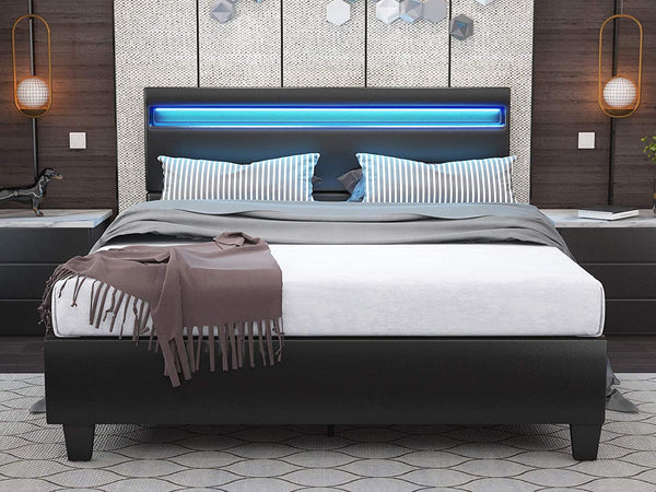 Mecor LED Bed Frame with 8 Color Changing LED Light Headboard, with 2.8-Inch Solid Wooden Slats Support/Black