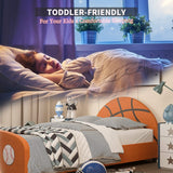 Mecor Children Bed - Twin Size Faux Leather Upholstered Platform Bed Frame/Curved Headboard Footboard, Basketball Design
