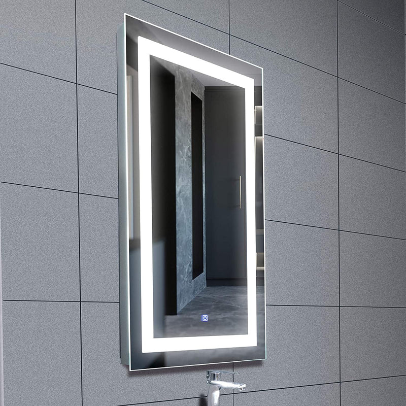 Mecor 40X24 inch LED Lighted Bathroom Mirror Silvered Wall Mounted Mirror with Touch Button