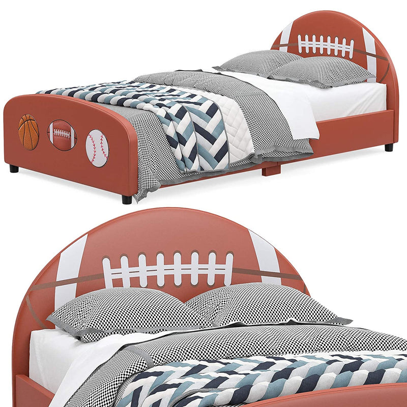 Mecor Children Bed,Twin Size Faux Leather Upholstered Platform Bed Frame with Curved Headboard Footboard, Football Design