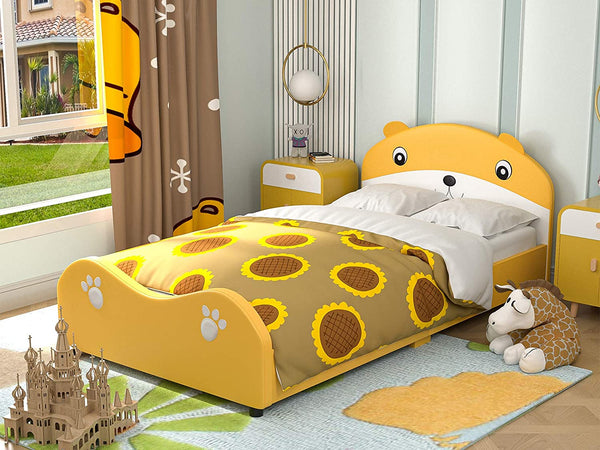 Mecor Children Toddler Bed - Twin Size Cute Bear Upholstered Platform Bed Frame with Headboard Footboard - Kids Bed for Boys Girls, Teens, Yellow