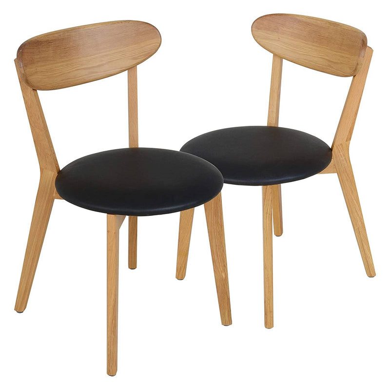 mecor Oak Dining Chairs, Modern Solid Wood Kitchen Chairs with Oakwood Frame for Kitchen Dining Living Room, Oak Finish