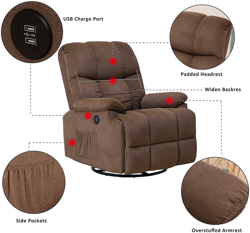 Mecor Recliner Chair with Massage Fabric Rocker Recliner, Heat 360 Degree Swivel Single Sofa Seat Ergonomic Lounge with USB