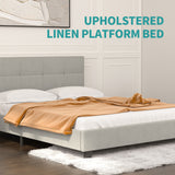 Mecor Platform Metal Bed Frame with Tufted Square Stitched Fabric Headboard, Strong Wood Slat Support, No Box Spring Needed, Light Grey, Queen