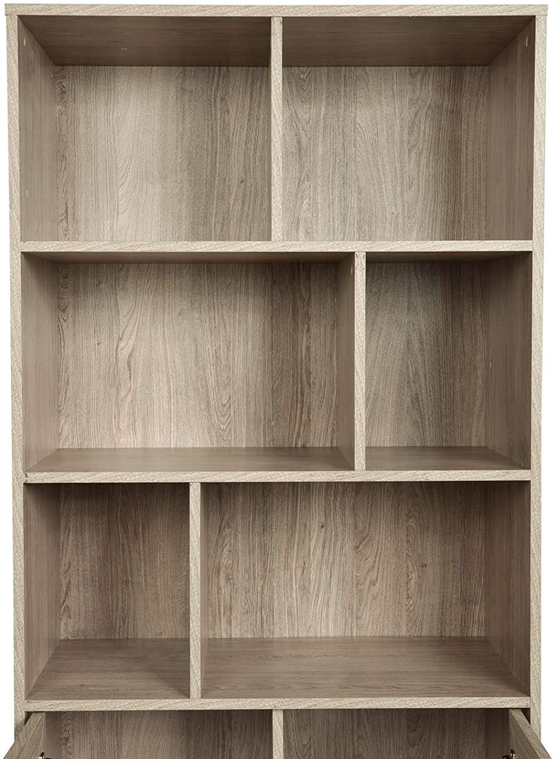 Mecor Bookcase, 3-Tier Bookshelf with 2 Doors, Wood and Metal Bookcases Storage Cabinet with V Style Metal Leg