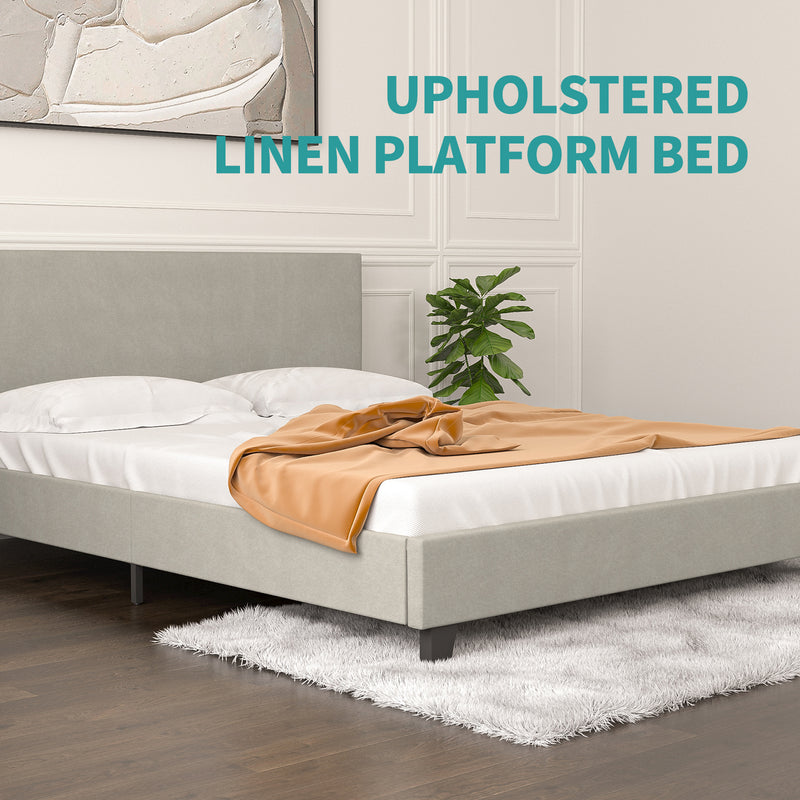 Mecor Upholstered Linen Platform with Wooden Slats Support - No Box Spring Needed, Mattress Foundation for Adults Teens Children, Light Grey, Queen