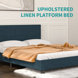 Mecor Upholstered Linen Platform Bed Metal Frame, Mattress Foundation with Fabric Headboard, Strong Wooden Slats Support, Full, Blue